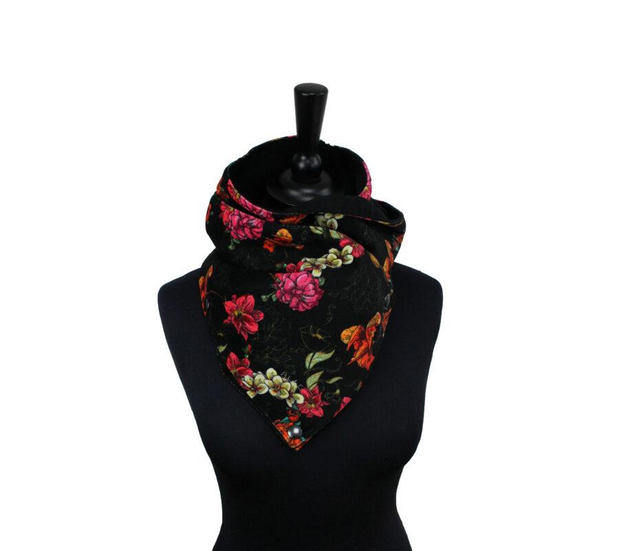 Écharpe Flowers noir