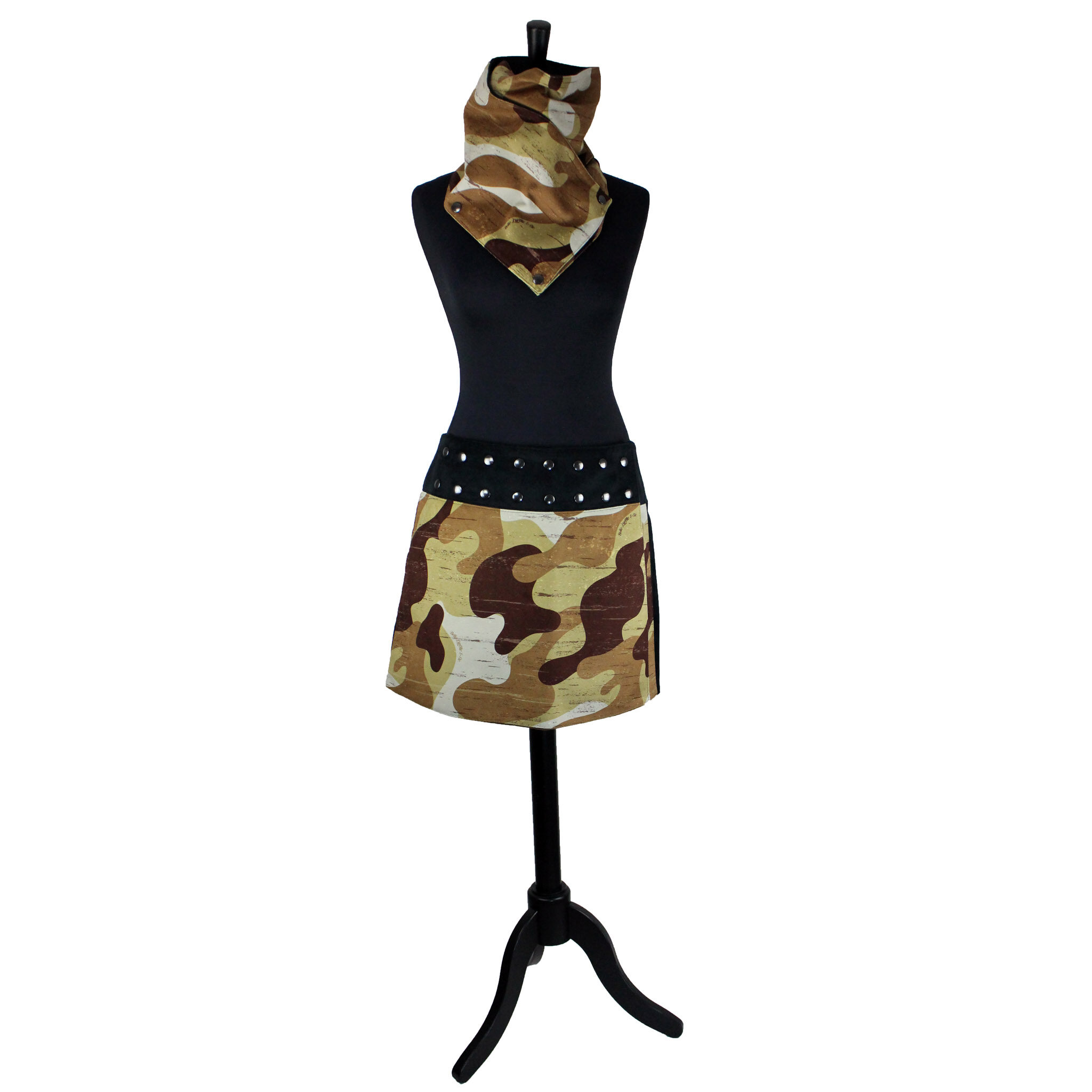 Jupe Pression Camouflage beige