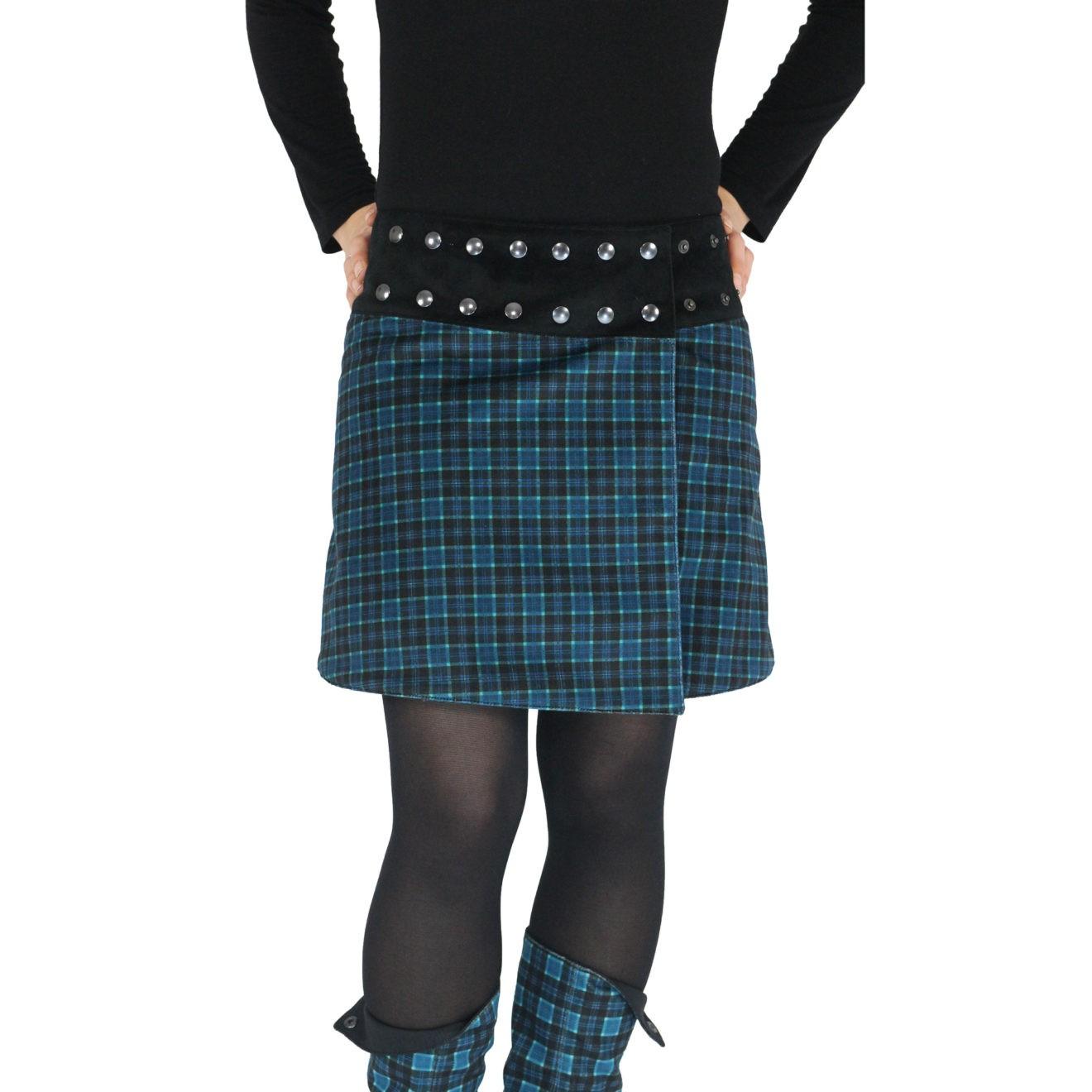 Jupe Pression Scottish Bleu