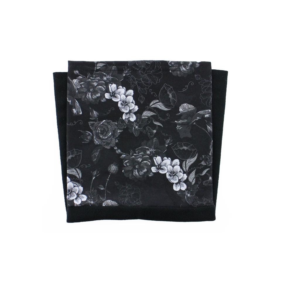 Tour de cou Fleurs noir Polaire